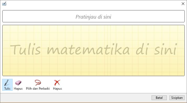 Memperlihatkan panel persamaan tinta di Word