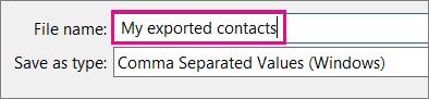 Mengetikkan nama untuk file kontak Anda