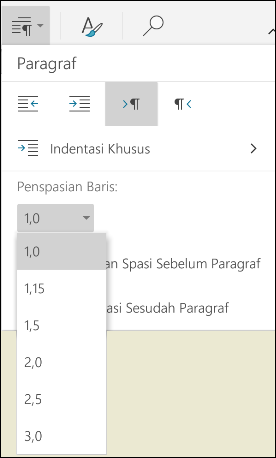 Menu Penspasian baris