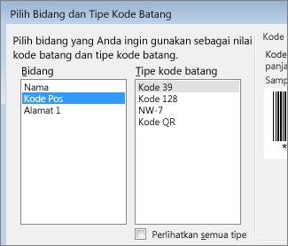 Daftar untuk memilih bidang dan tipe kode batang