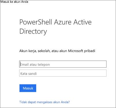 Masukkan kredensial admin Azure Active Directory Anda