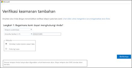 Pilih metode autentikasi Anda lalu ikuti panduan di layar.