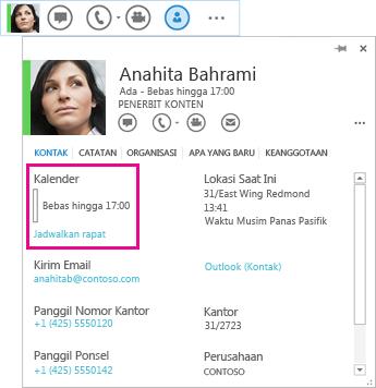Cuplikan layar kontak Lync Cepat dan kartu kontak dengan kalender dan jadwal sebuah rapat yang disorot