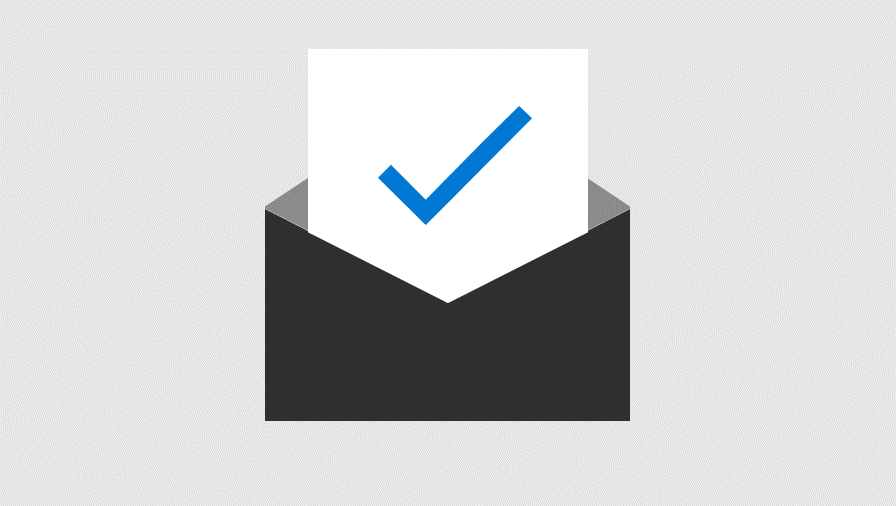 Ilustrasi kertas dengan tanda centang sebagian disisipkan ke dalam amplop. Menyatakan Proteksi Keamanan tingkat lanjut untuk lampiran email dan link.