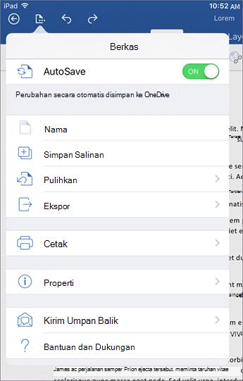 Tombol file di Word untuk iOS memungkinkan Anda mencetak, menyimpan, mengirim umpan balik dan lainnya.