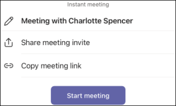 Cuplikan layar undangan seluler Teams untuk iOS