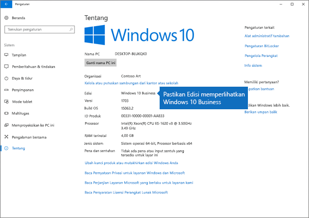 Verifikasi bahwa edisi Windows adalah Windows 10 Business.
