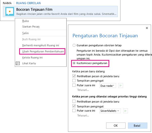Cuplikan layar pilihan menu dan jendela untuk mengkustomisasi pemberitahuan