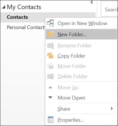 Membuat folder kontak baru.