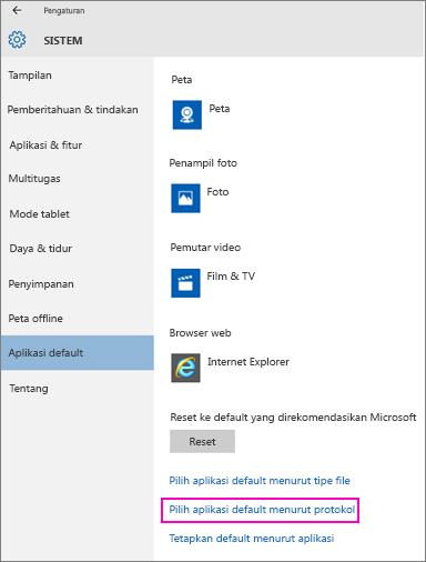 Cuplikan layar Tata Default menurut pengaturan Aplikasi di Windows 10.