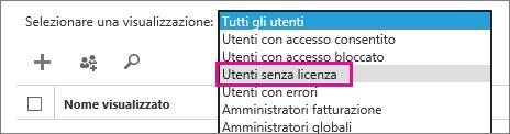 Visualizzare un elenco di utenti senza licenza
