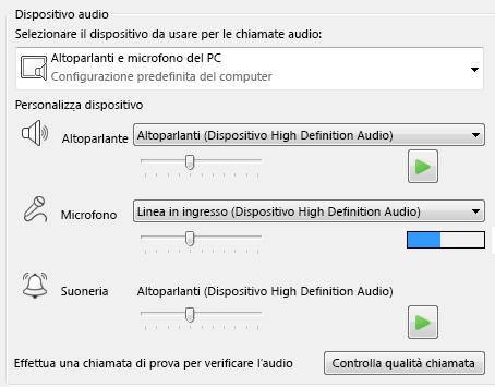 Schermata della casella di selezione del dispositivo audio in cui impostare la qualità audio