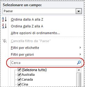 Casella Cerca nell'elenco del filtro