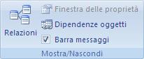 Immagine della barra multifunzione di Access