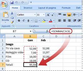 Esempio di formula in cui viene utilizzata la funzione SOMMA