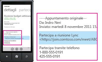 Schermata che illustra la convocazione di riunione Lync su Lync per client mobili