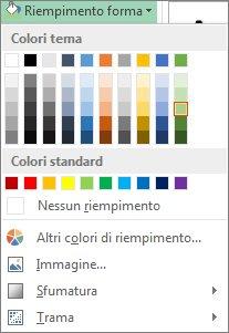 Menu delle opzioni per i colori di Riempimento forma