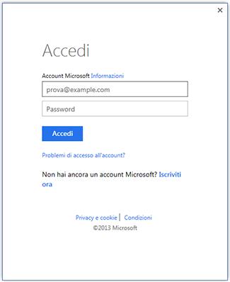 Seconda schermata di accesso