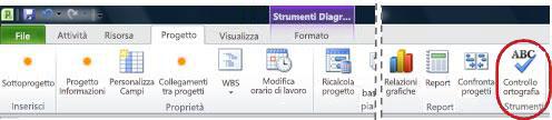 Pulsante Controllo ortografia della barra multifunzione di Project