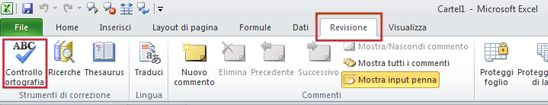 Excel Spelling command