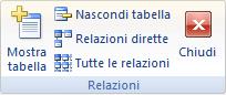 Gruppo Relazioni nella scheda Progettazione della barra multifunzione