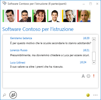 Schermata di chat room persistente con sei partecipanti