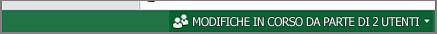 Indicatore che mostra quanti utenti stanno collaborando a un foglio di calcolo