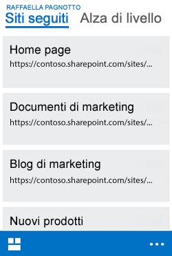 Visualizzazione dei siti seguiti