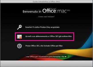 Home page di installazione di Office per Mac