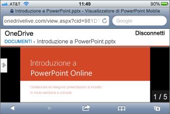 Presentazione nel visualizzatore per dispositivi mobili per PowerPoint