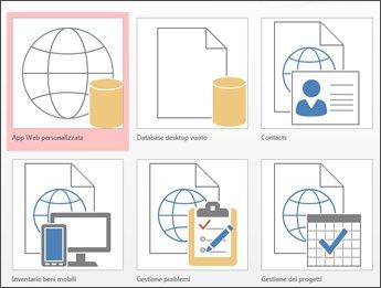 visualizzazione dei modelli nella schermata di avvio