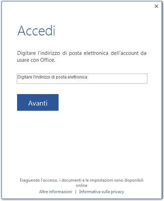 Prima schermata di accesso o di cambio dell'account