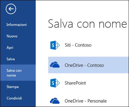 Cartella di OneDrive for Business durante l'apertura o il salvataggio di un file