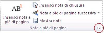 Pulsante di visualizzazione della finestra di dialogo Note a piè di pagina e di chiusura di Word 2010