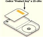 Codice Product Key all'interno della confezione su un'etichetta applicata alla scheda nella parte sinistra della custodia rispetto all'alloggiamento del disco.