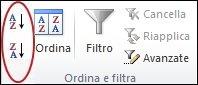 Pulsanti di ordinamento rapido nel gruppo Ordina e filtra della scheda Dati