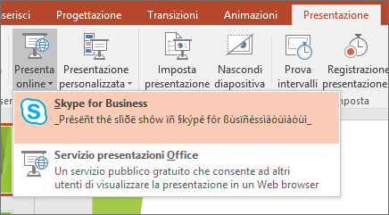 Mostra l'opzione per presentare online in PowerPoint