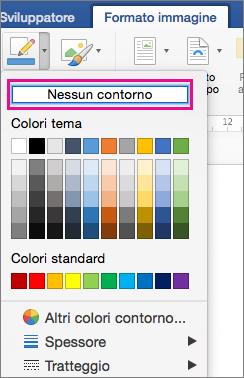 Opzione Nessun contorno evidenziata nel menu Bordo immagine