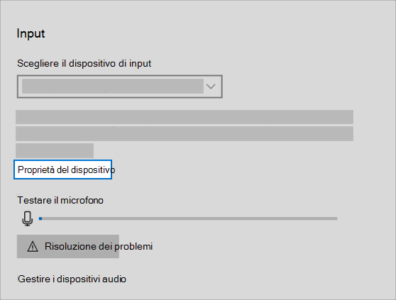 collegamento alle proprietà del dispositivo di input audio nel menu audio