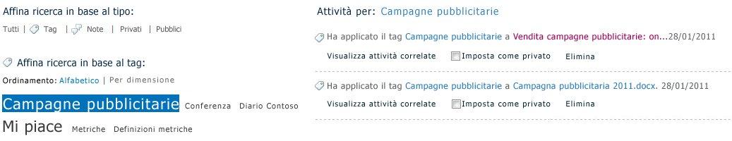 Selezionare un tag per visualizzare il contenuto assegnato.