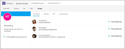 schermata: ricerca di gruppi con Bing per le aziende.