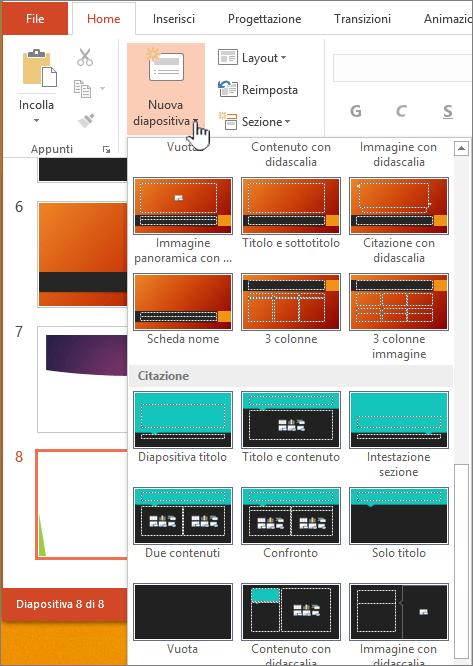 Fare clic sulla freccia accanto a Nuova diapositiva per la selezione degli schemi