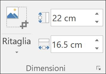 Screenshot che mostra le impostazioni di altezza e larghezza