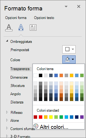 Selezione colori ombreggiatura WordArt