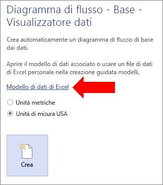 Selezione del collegamento Modello di dati di Excel