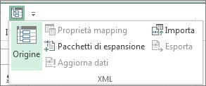 Sulla barra di accesso rapido fare clic su XML