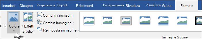 Fare clic sulla scheda Formato e quindi fare clic su colore
