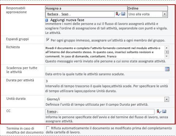 Seconda pagina del modulo di associazione con campi del modulo di avvio identificati