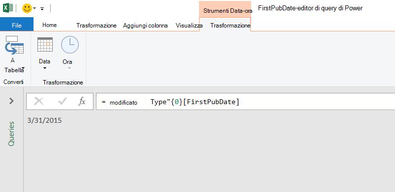 Editor di Power query che visualizza un singolo valore di data