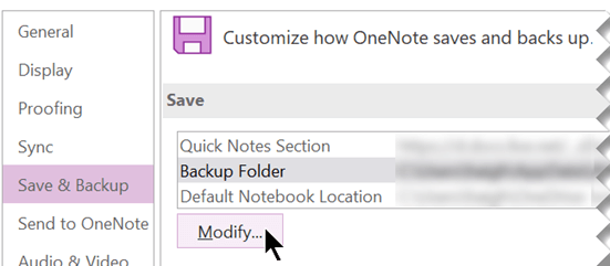 Screenshot della finestra di dialogo Opzioni di OneNote in OneNote 2016.